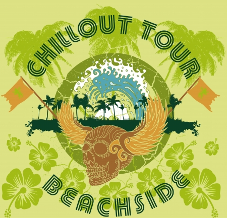 dirty t shirt: pacific ocean palm beach skull and wings art