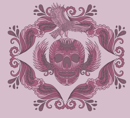 big wave tattoo skull art Stock Vector - 19932187