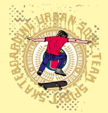 urban skate spirit art Illustration