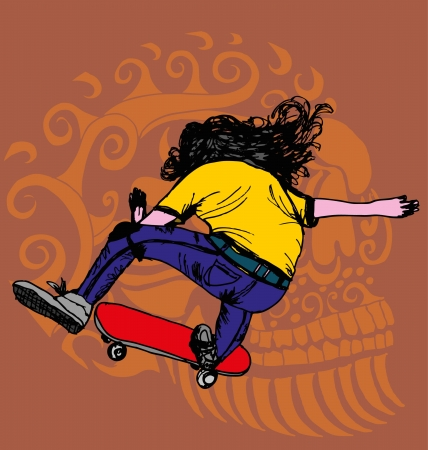 skull and skate art Vector