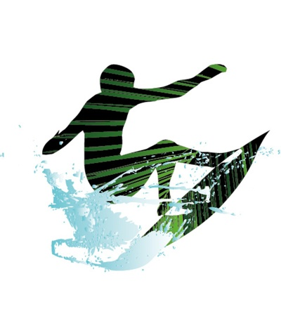 big waves: pacific surfer chamipon club graphic design Illustration