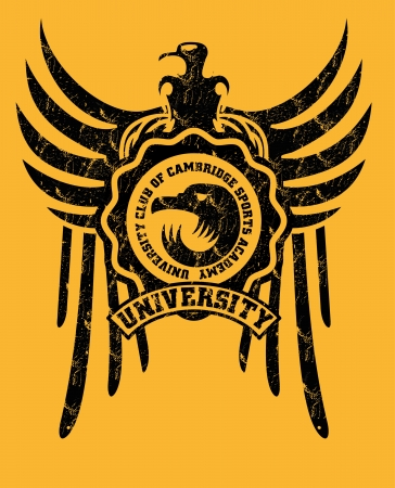phoenix bird: tribal tattoo eagle badge vector art Illustration
