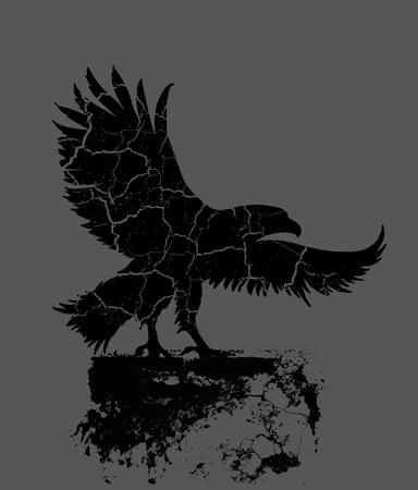 cross hatched: grunge background vintage eagle vectro t