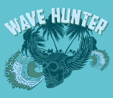 chaser: big wave palm beach wins skull vector art