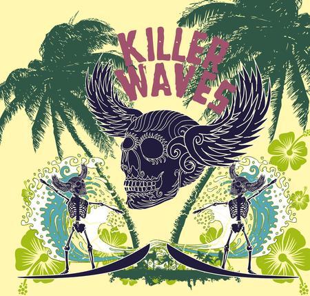 chillout: tattoo tribal surfer big wave vector art Illustration