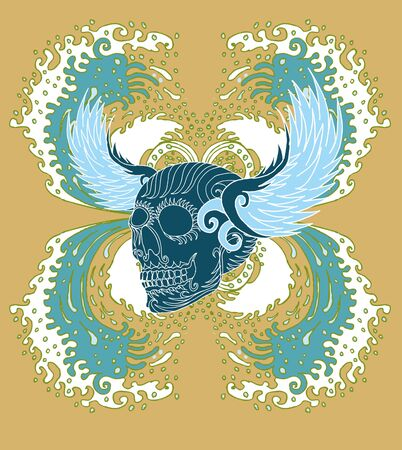 big wave tattoo skull vector art Stock Vector - 22205774