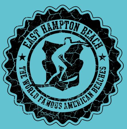 printing surfer badge vector art Vector