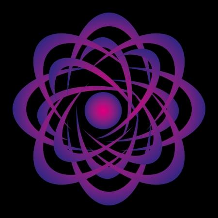 black background atomic design vector art Illustration
