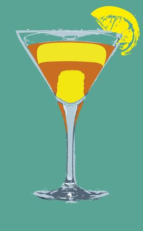mix color cocktail glass art Vector