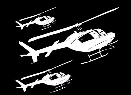 Civil helicopters in perspective art Vector