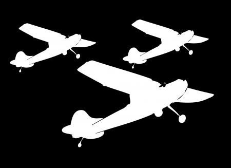 commercial airplane: white silhouette of jet airplane art