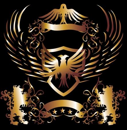 aigle royal: cadre dor� lion et aigle art
