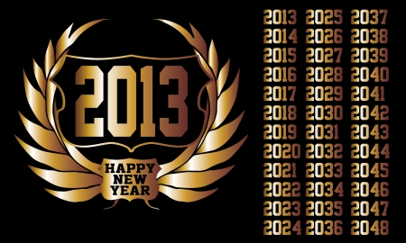 golden year laurel wreath vector art Vector