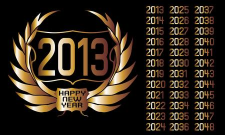 golden year laurel wreath art Vector