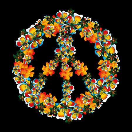 luau party: flores y vector arte de la paz Vectores