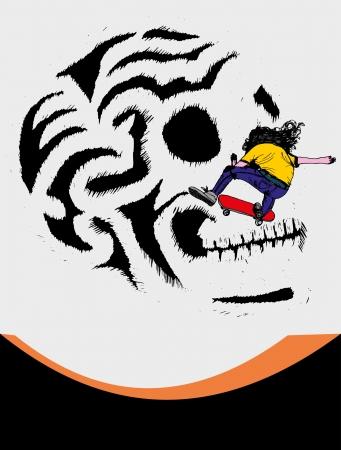 skate board: skull and skate vector art