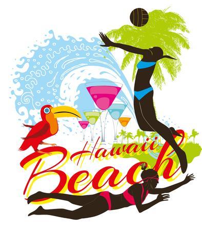 unwind: hawaii beachvolley and palm beach vector art