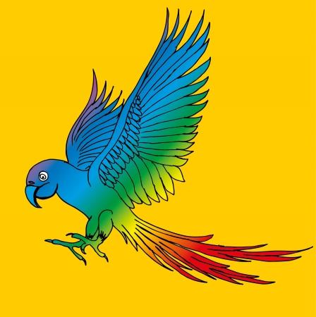 paradise parrot wings vector art Illustration