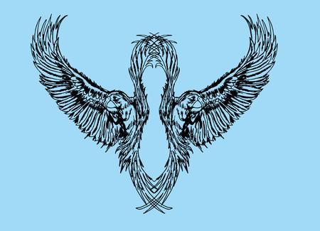 blue heron: tattoo tribal birds vector art