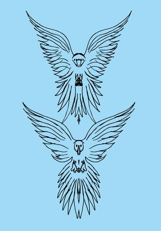 tattoo tribal birds vector art Stock Vector - 22249480