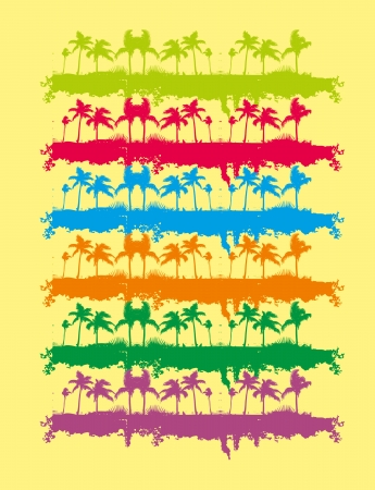 Tropical palm beach vector art Vector