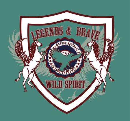 eagle and horse team vector art Illustration