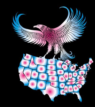 american map and eagle eps8 vector art Vector