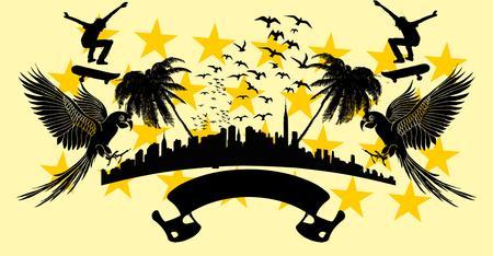 american skate park vector art Illustration