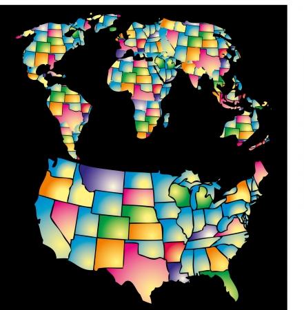 american color map vector art