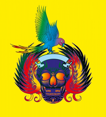 swooping: skull and parrot vector art