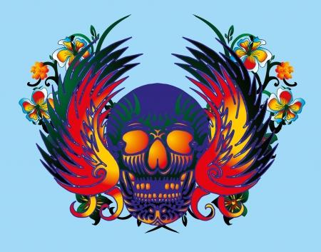skull and parrot vector art Vector
