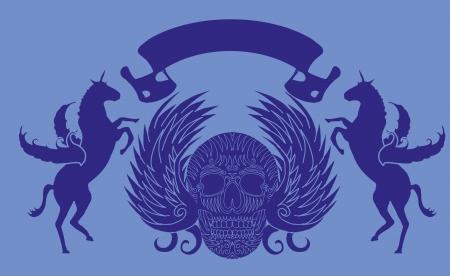 skull and horse vector art Vector