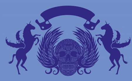 swooping: skull and horse vector art