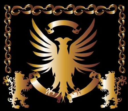 gold eagle shield art Vector