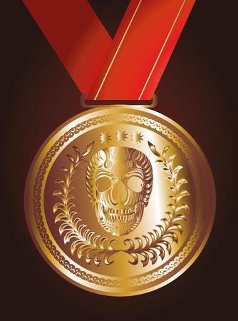 red ribbon gold medal art Vector