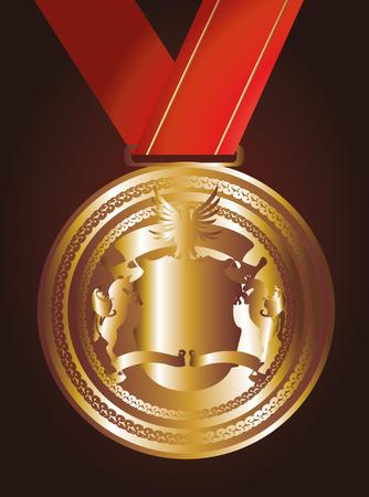 red ribbon gold medal art Vector