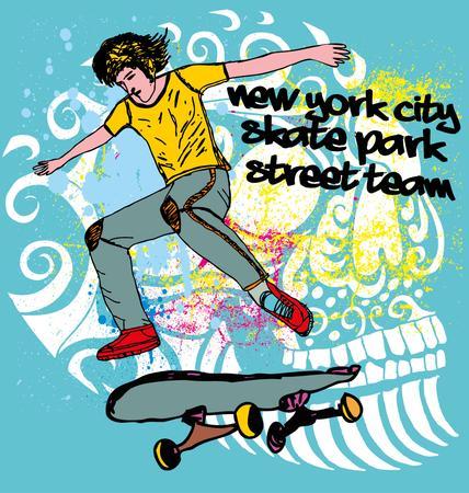 urban skate team art Illustration