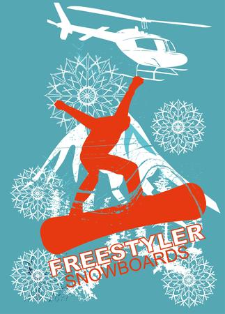 winter sports: freestyler winter sports skier art Illustration