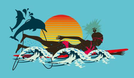 pacific ocean surfer girls art Vector