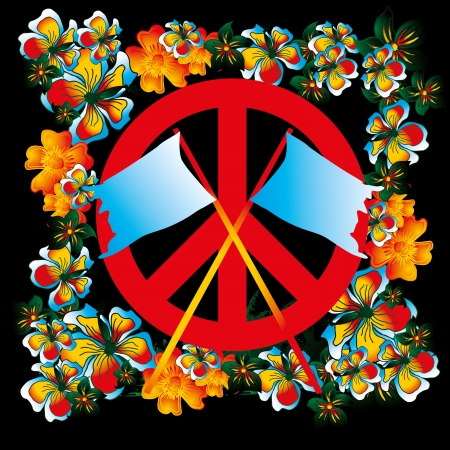 flower and peace  Vector