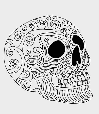 tattoo tribal mexican skull  Illustration