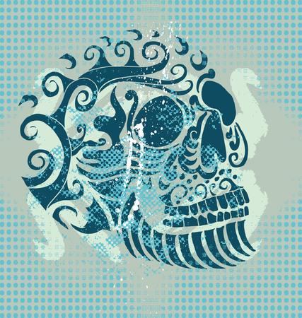 tattoo tribal skull  Vector
