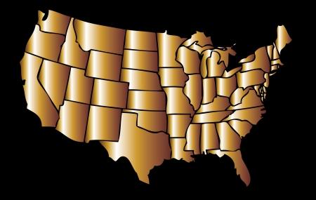 アメリカの金マップ eps8 ベクトル アート  イラスト・ベクター素材