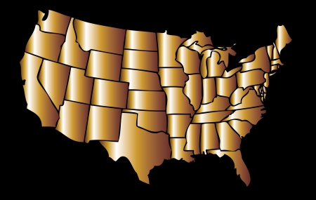 american golden map eps8 vector art Vector