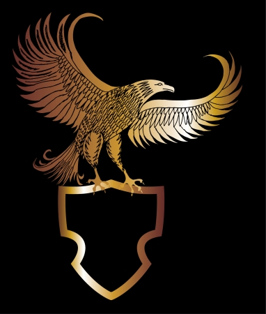 gold eagle shield vector art Illustration
