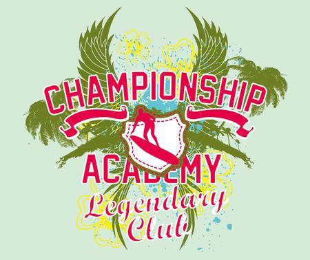 pacific surfer champion club graphic design