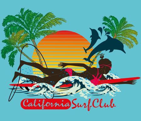 pacific ocean surfer girls art Illustration