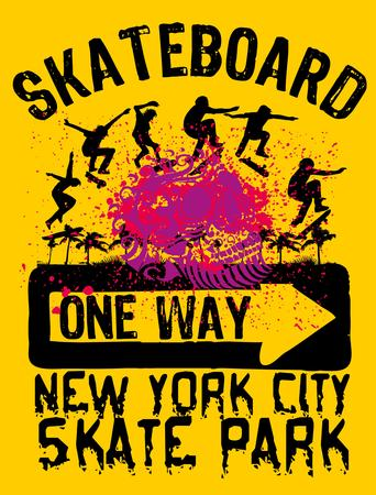 skateboard boy: urban skate spirit art Illustration