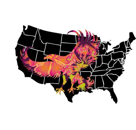 american map and eagle eps8 vector art Stock Vector - 22601449