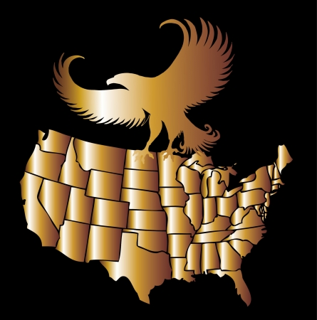 american golden map and eagle eps8 vector art Vector